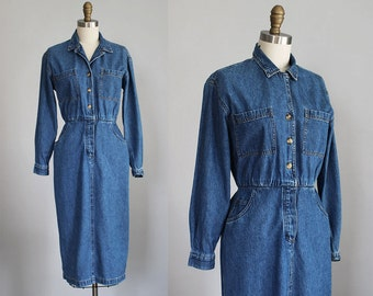 sale /// 1980s denim button up shirt dress / xs - s
