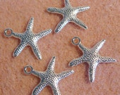 Bright Silver Starfish Charm Pendant 19mm Lead Free 834