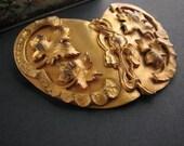 Vintage art nouveau sash pin / large brooch / maple leaves / floral / gold wash