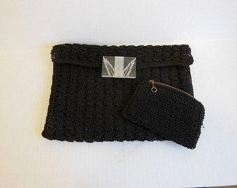 40s bag / Vintage 1940's Crochet Cord Bag Purse Lucite Clasp