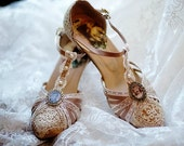 Gatsby .. T-Strap..1920s wedding shoes..antique lace ..Vintage Wedding.. personalized custom design... FREE Postage in US ..