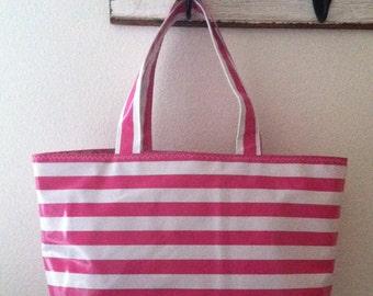 Beth's Large Very Pink  Stripes Market Tote Bag