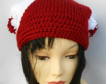 Square Hat, Red and White, Crochet Cap, Cat Ears Cap, Pom Pom Hat, Color Block Hat