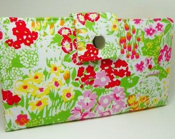 Flower Handmade Long Wallet  BiFold Clutch - Tiny flower garden wallet