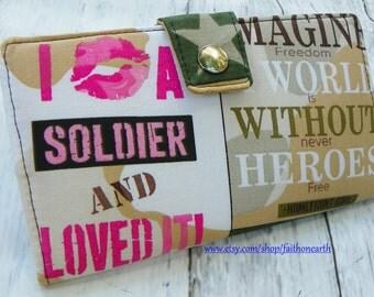 Sale Handmade Long Wallet  BiFold Clutch- Vegan Wallet -  I kissed a Soldier Wallet or half size unisex wallet
