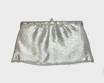 1950s purse / vintage 50s handbag / clutch / Hollywood Nights Silver Lamé Purse