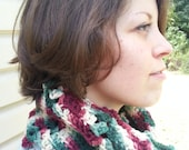 Tricolor Infinity Scarf Cowl Neck Warmer Cranberry Holly and Cream