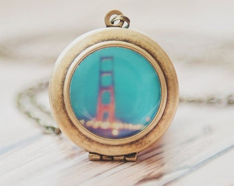 San Francisco jewelry, Golden Gate Bridge photo, locket, mint blue red gold, romantic, necklace, wedding, California fashion, bronze, glass