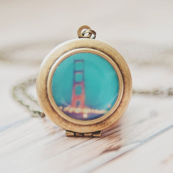 San francisco jewelry golden gate bridge photo locket mint for Golden gate bridge jewelry