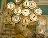 "Mother of  pearl MOP vintage buttons- 15/16"" LARGE 2 holes light golden antique 20"