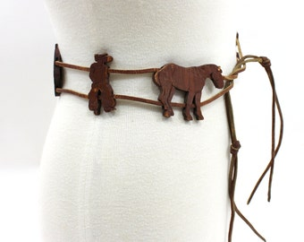 1970s Cowboy Belt Hand Carved Wood Ranch Figures