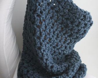Chunky Scarf, Chunky Cowl Scarf, Snood, Oversized Knit Scarf, Pullover Knit Scarf, Denim Blue Scarf