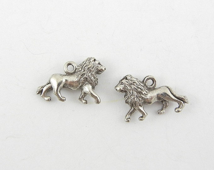 Pair of Silver-tone Pewter Lion Charms