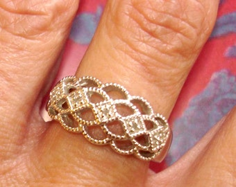 vintage silver ball texture filigree ring