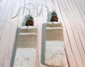 Healing Amazonite Earring, Courage Truth Stone, Wearable Art, SemiPrecious Stone