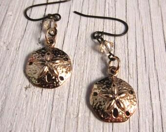 SAND DOLLAR Earrings, Hammered Bronze