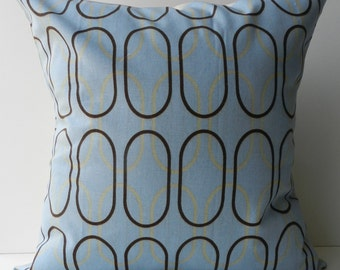 New 18x18 inch Designer Handmade Pillow Case. Misty blue and putty in retro pattern.