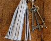 White Leather Boho Tassel Keychain by Binding Bee RECLAIMED leather
