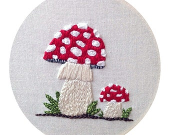 Amanita Muscaria Mushrooms Portrait Mycology Embroidered Wall Art  Two Red Spotted Mushrooms