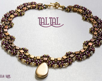 TalTal SuperDuoand Czech Mates Beadwork Necklace Pdf tutorial instructions for personal use only