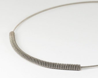 Guitar String Jewelry- Minimal Necklace, Silver Bar Necklace, Guitar Choker, Guitar String Necklace, Music Jewelry, Guitar Player Gift