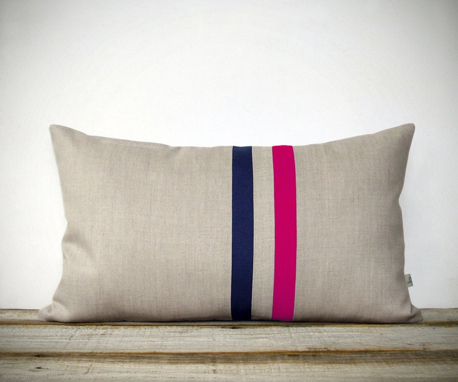 Navy And Pink Decorative Pillows: Hot Pink And Navy Striped Pillow 12x20 Modern Home Decor