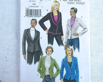 Basic VOGUE sewing Pattern Sizes 18 20 22 Jacket Blazer 5 Views Belted, Trimmed, Semi Fitted Uncut factory folds 2007