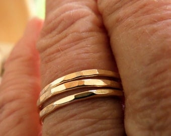 Gold Filled Skinny Stackers-Rose or Yellow