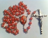 Rosary Peach Glass Pearl Our Lady of Lourdes Full Color Center OOAK