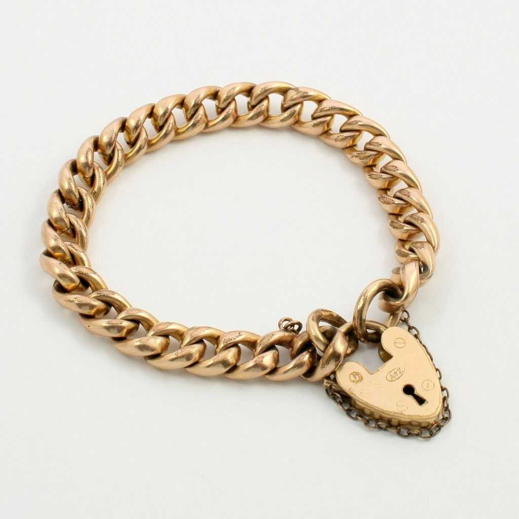 Antique Edwardian 18ct 18k Rolled Gold Charm Bracelet with