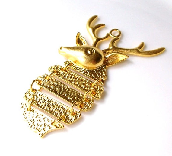 1 pc-Matte Gold plated Brass Pendant -Deer 70x50mm-(004-007GP)