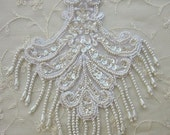 ANTIQUE WHITE Pearl Sequin Beaded Embroidered Lace Flower Applique Bridal Scrapbook Clothing
