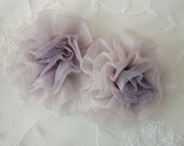 2 PC Hand Dyed Organza Fabric Antique LAVENDER Rose Flower Applique Bridal Christening Couture Hat