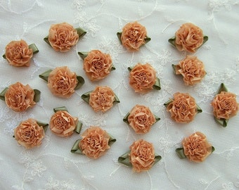 18pc ANTIQUE APRICOT Organza Ribbon Fabric Flower Applique Shabby Chic Baby Doll Carnation Cabbage Rose Bow