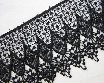 Vintage Chic delicate BLACK Venise Lace for bridal accessories altered couture and costume design