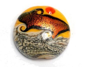 Handmade Glass Lampwork Bead - Summer Sunset Waves Lentil Focal Bead 11833802