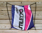 Stiletto Parachute End Panel Drawstring Backpack Purple and Neon Pink