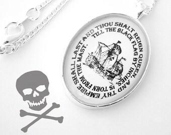 Pirate Queen Nautical Silver Pendant Necklace Ship