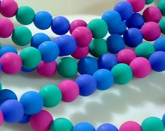 NEON Matte BEADS Czech Glass Round Druk 6mm Beads Mulit Color Etched 8 inch strand  (26)
