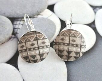 Fabric button earrings, Aztec Tribal Ethnic Dark Gray Grey White Geometric Triangle Earrings Silver Ear Hoops Clips, CHOOSE STYLE