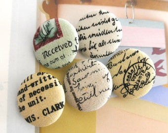 """Handmade Vintage Retro Cream Beige Postal Stamp Script Airmail Fabric Covered Buttons, Vacation Airmail Fridge Magnets, Flat Back 1.2"""" 5's"""