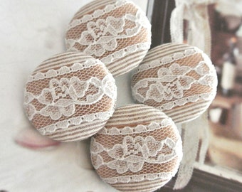 """Large Wedding Beige Stripes Gold White Ribbon Lace Floral Fabric Covered Buttons, Wedding Retro Fridge Magnets, Covered Buttons, 1.25 """" 4's"""