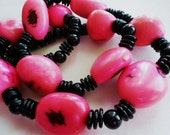 Hot Pink Tagua Nut Necklace with Black Discs and Beads