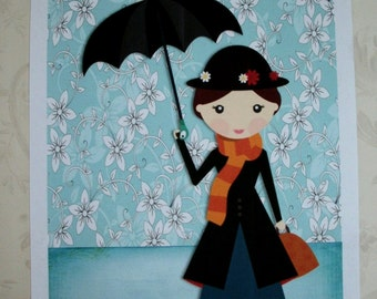 MARY POPPINS - WaLL ArT - Really Adorable - Choice of Sizes - Whimsical - MPWA 4355