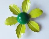 Vintage enamel flower pin enamel flower brooch lime green flower lime green brooch lime green daisy brooch enamel daisy brooch