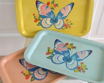 Vintage Metal Tray Butterfly Kitsch Pink Children