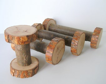 Rustic Wood Spools in 4 Sizes Handmade from Willow Wood