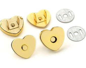 10 pcs Heart Shaped 18mm Magnetic Purse Snap Gold (MAGNET SNAP MAG-159)