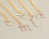 GOLD initial necklace. personalized letter. lowercase cursive alphabet. gift for her. alphabet a-z MILANA font. personalized jewelry for her