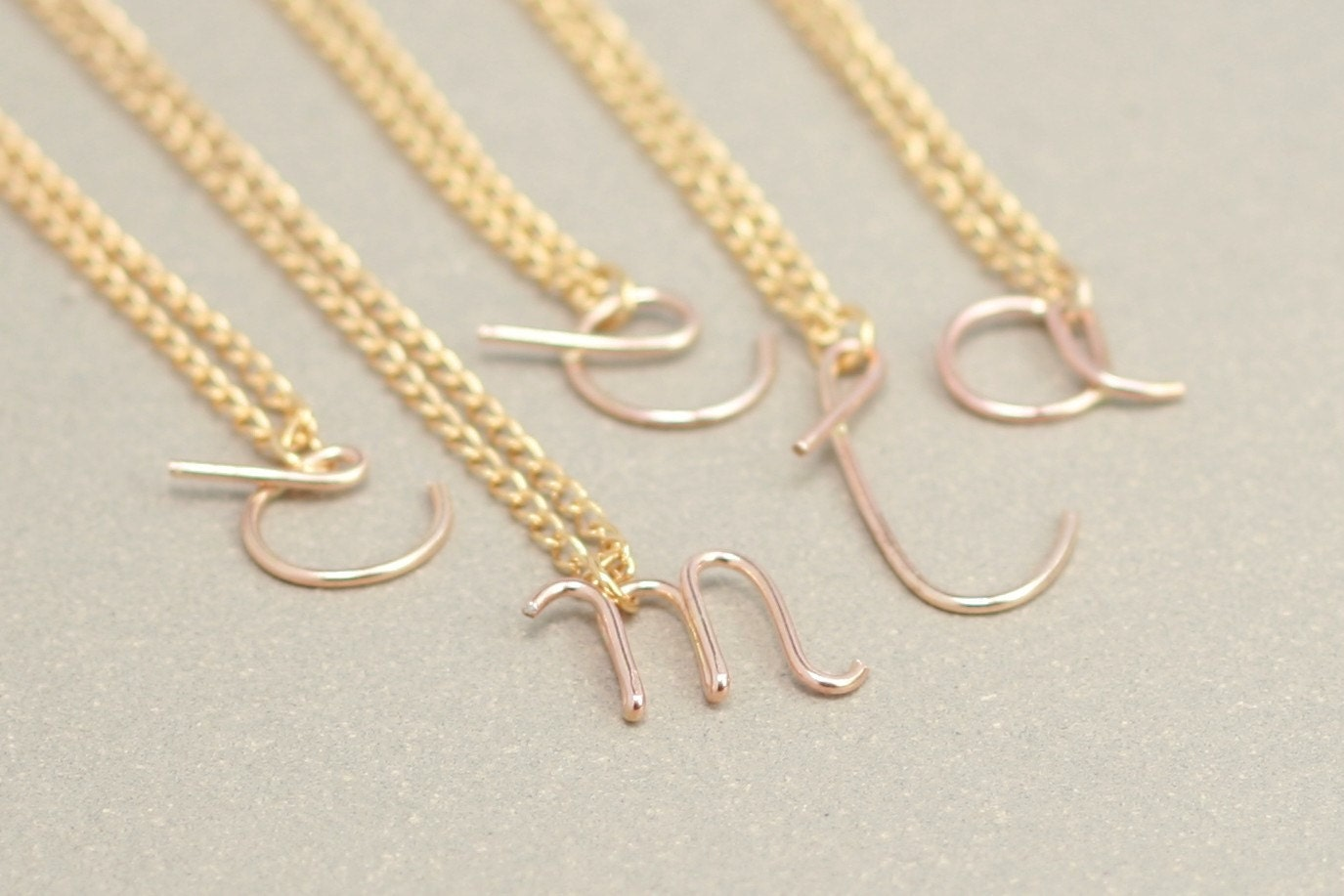 Gold initial necklace personalized letter lowercase cursive for Lowercase letter necklace